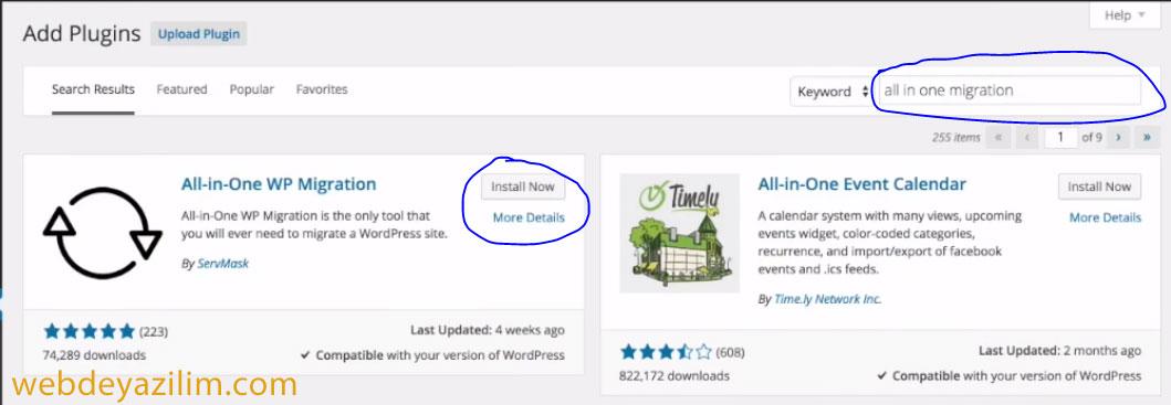 WordPress Site Taşıma Eklentisi - All-in-One WP Migration